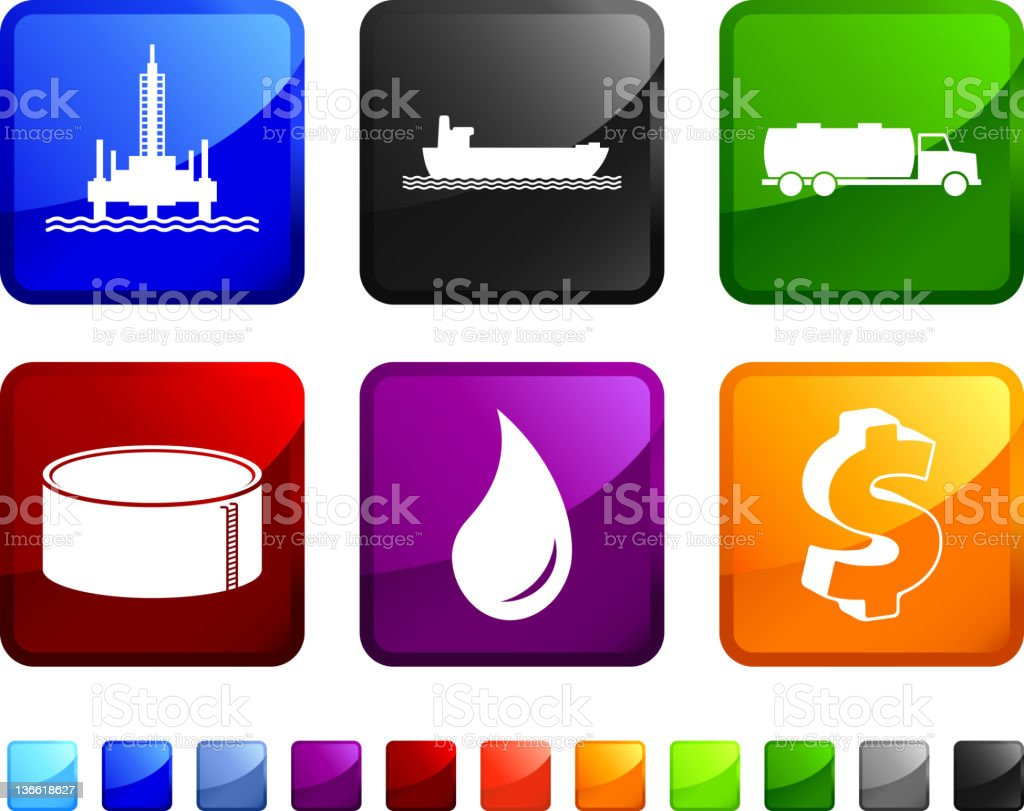 A set of six colored stickers of the fuel supply chain. royalty-free stock vector art