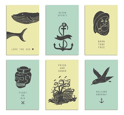 Set of six creative cards. Marine themes & tattoo.