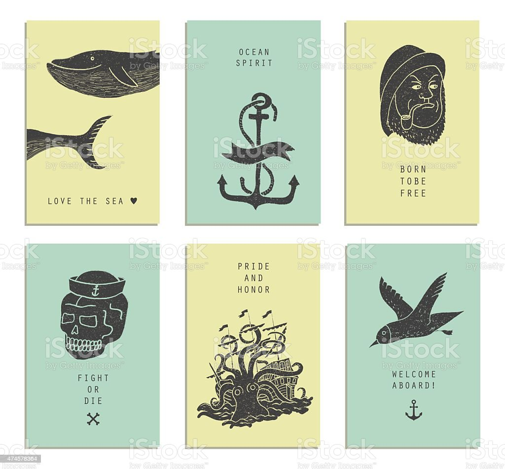 Ensemble de six cartes de création.   Thèmes marins & tatouage. - Illustration vectorielle