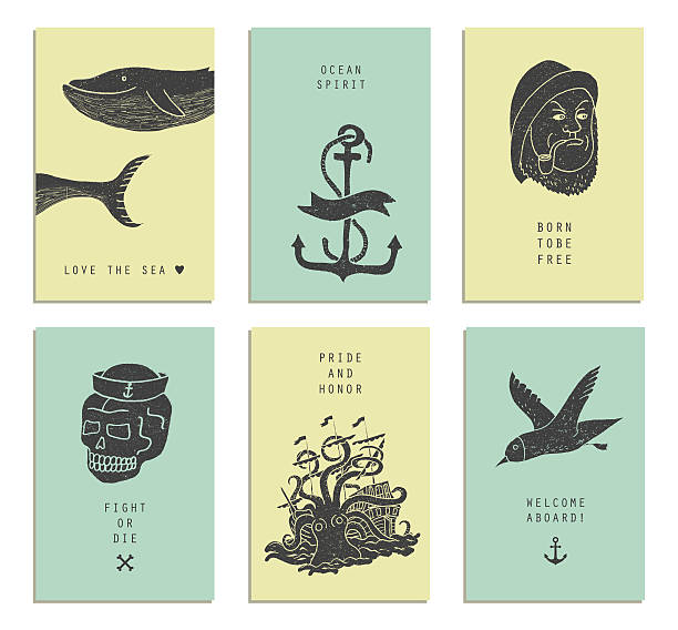 Set of six creative cards. Marine themes & tattoo. vector art illustration