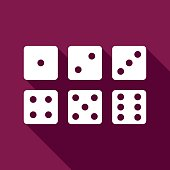Set of six dices flat icon with long shadow. Vector Illustration