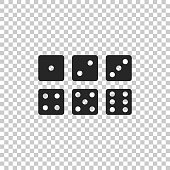 Set of six dices icon isolated on transparent background. Flat design. Vector Illustration