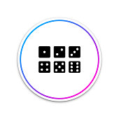 Set of six dices icon isolated on white background. Circle white button. Vector Illustration