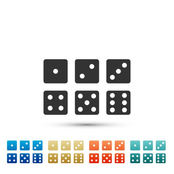 stockillustraties, clipart, cartoons en iconen met set van zes dobbelstenen pictogram geïsoleerd op een witte achtergrond. set elementen in gekleurde pictogrammen. platte ontwerp. vectorillustratie - dobbelsteen