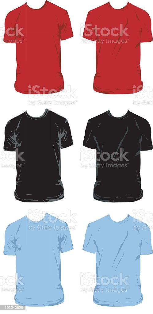 Set of six different color t-shirts royalty-free stock vector art