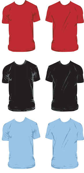 Set of six different color t-shirts