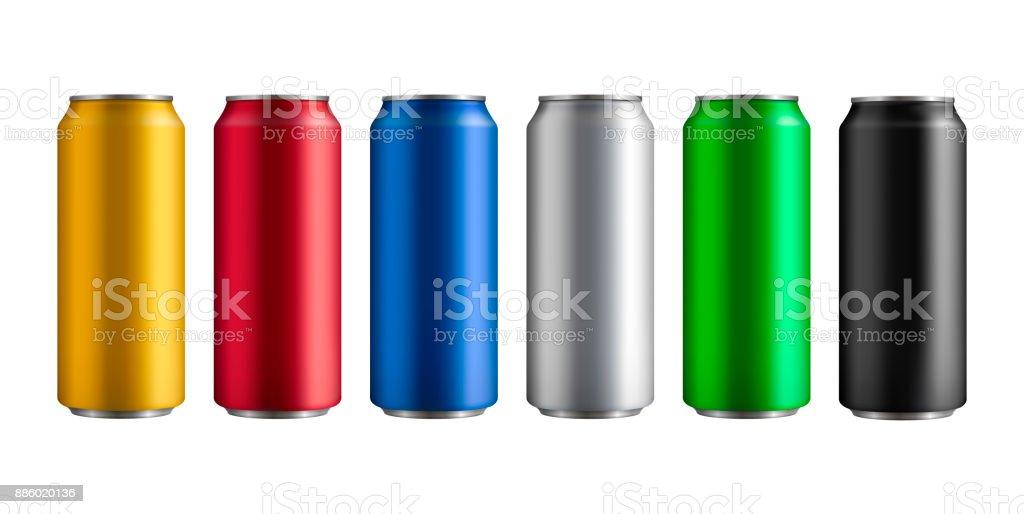 set van zes verschillende gekleurde geïsoleerde aluminium blikjes met een drankjevectorkunst illustratie