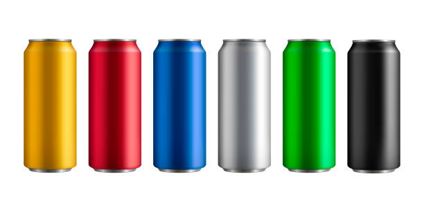 ilustrações de stock, clip art, desenhos animados e ícones de set of six different colored insulated aluminum cans with a drink - latão