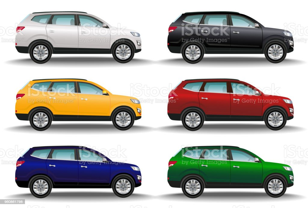 Set of six different colors cars on white background. Luxury offroad vehicles. Realistic crossover. 4x4 transport. vector art illustration