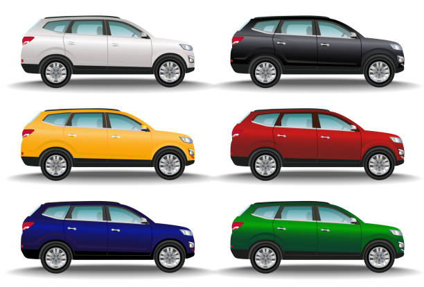 Set of six different colors cars on white background. Luxury offroad vehicles. Realistic crossover. 4x4 transport. Set of six different colors cars on white background. Luxury offroad vehicles side view. Realistic crossover. 4x4 transport. Vector illustration. personal land vehicle stock illustrations