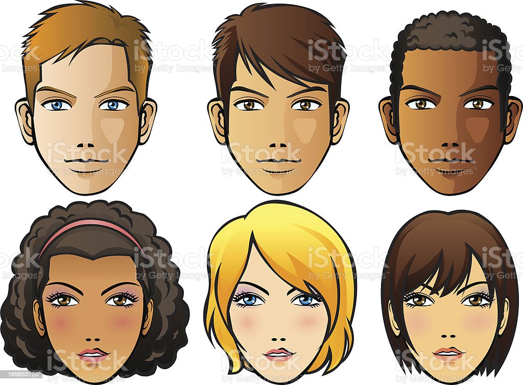 Set of six different human faces royalty-free stock vector art