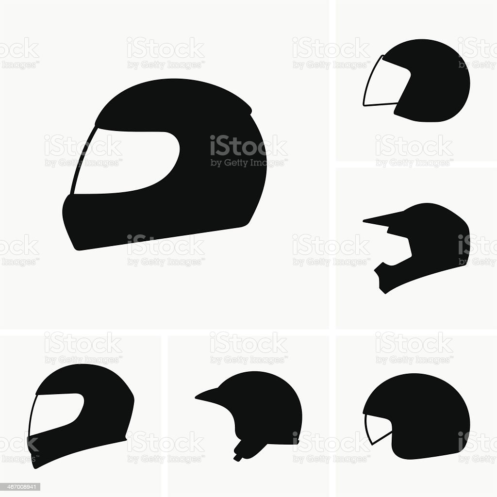 A set of six different motorcycle helmets vector art illustration