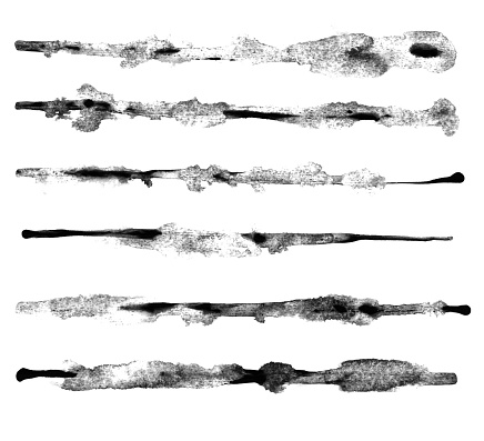 Set of six dirty hand painted watercolor horizontal lines in shades of black - abstract shapes isolated on white paper babckground - illustration in vector with visible uneven rough traces of diluted paint spilled over a white piece of paper