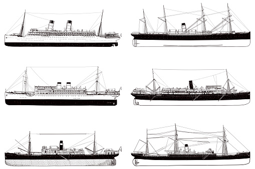 Side view, black and white sketches of big old ships