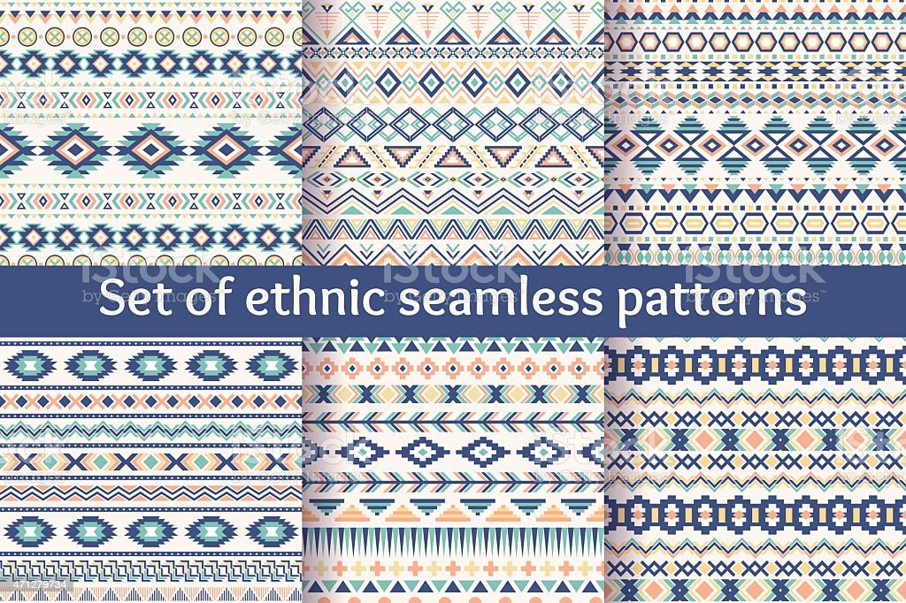 Set of six ethnic-style colorful seamless patterns vector art illustration