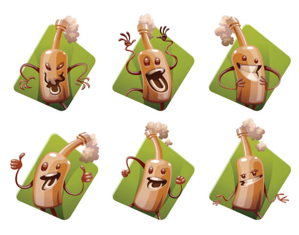 Set Of Six Frames With Funny Brown Beer Bottles stock vector art ...