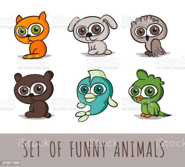 Set of six funny cartoon animals on white background isolated vector vector id876671836?b=1&k=6&m=876671836&s=612x612&h=wrg4rbpkvggois 0yw1qvbcmw0lzqrew1cigoquouiu=