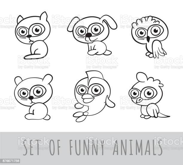Set of six funny cartoon linear animals on white background isolated vector id876671758?b=1&k=6&m=876671758&s=612x612&h=hrewdf7vnev2m drrpgstqbso1junn4vhvblx2mzwtq=