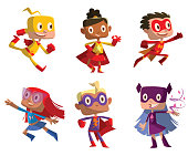 Vector set of six cartoon images of funny little boys and girls in various colors superhero costumes with different actions and emotions on a white background. Children, halloween, holiday.