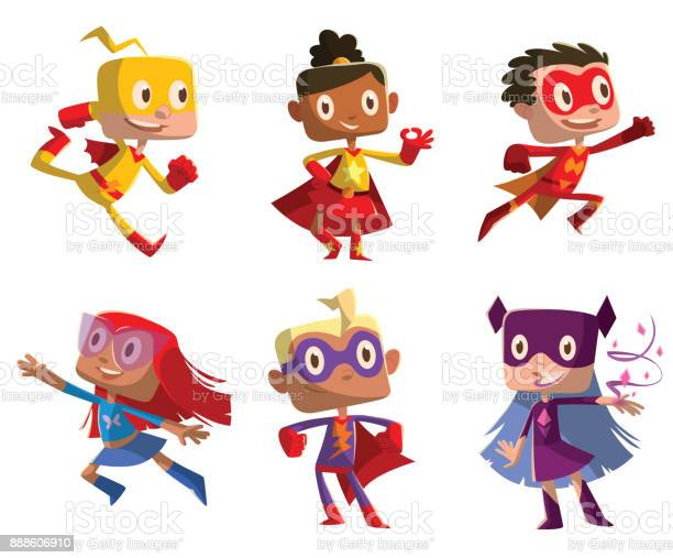 Set of six funny children in superhero costumes vector id888606910?b=1&k=6&m=888606910&s=612x612&h=bfyreatfc6z0kmnly0tifnoq9efu99ji8e050hyvyj0=