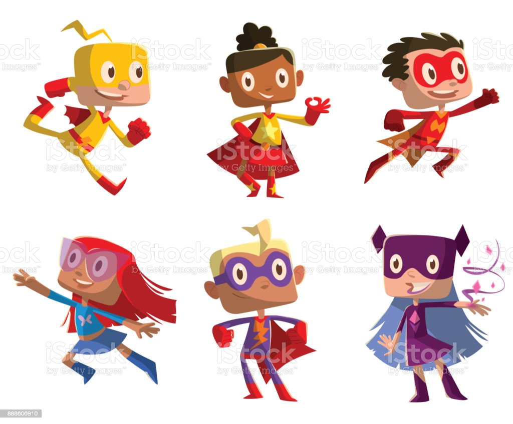 Set of six funny children in superhero costumes vector art illustration