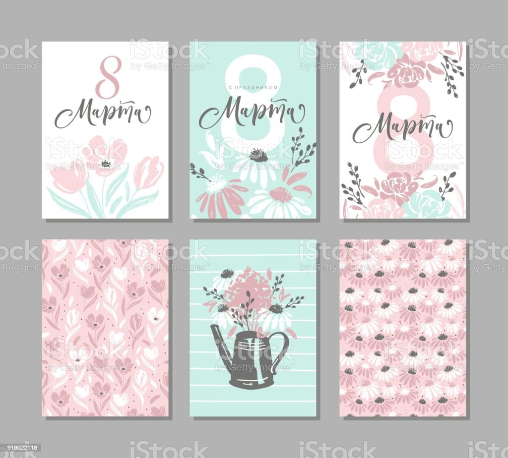 Set of six greeting cards for international womens day with set of six greeting cards for international womens day with alligraphic hand written phrase in kristyandbryce Gallery