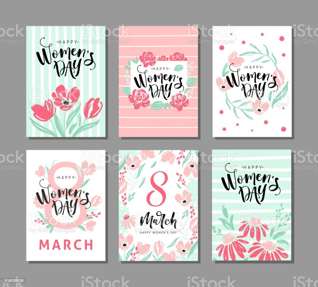 Set Of Six Greeting Cards For International Womens Day With