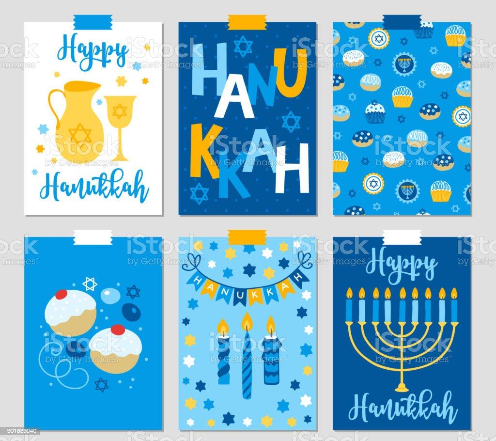 Set Of Six Hanukkah Greeting Cards With Menorah Oil Jewish Star Royalty Free