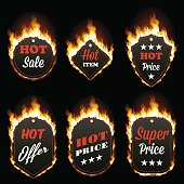 Set of six hot sale frames of different shapes surrounded with realistic flame isolated on black background. Burning fire light effect. Bonfire elements. Gradient mesh vector for your design