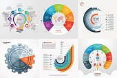 Set of six infographic 7 options, steps, parts, processes templates.