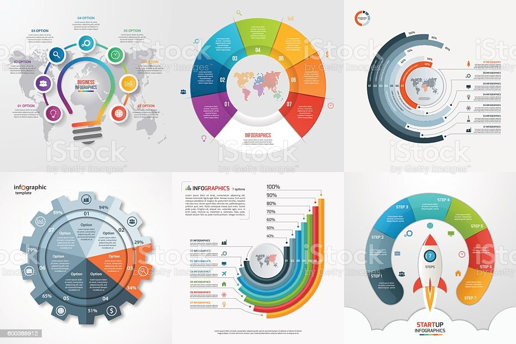 Set of six infographic 7 options, steps, parts, processes templates. vector art illustration