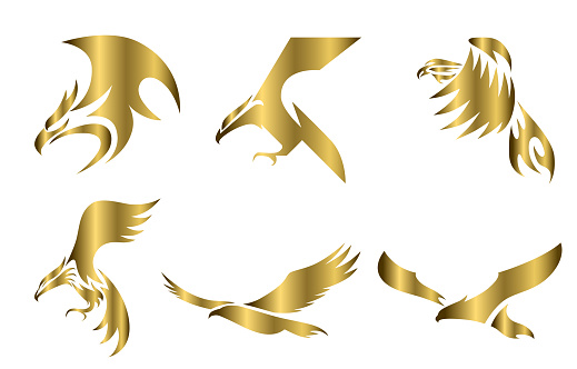 Set of six line art gold vector logo of eagle. Can be used as a logo Or decorative items.