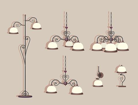De De La Seis Lámparas de Con Conjunto Ilustración Lujo PkZTOiXu
