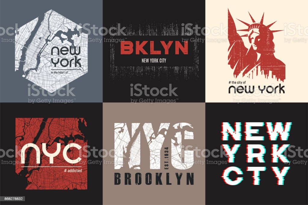 Set of six New York t-shirt and apparel designs. Vector print, typography, poster, emblem. vector art illustration