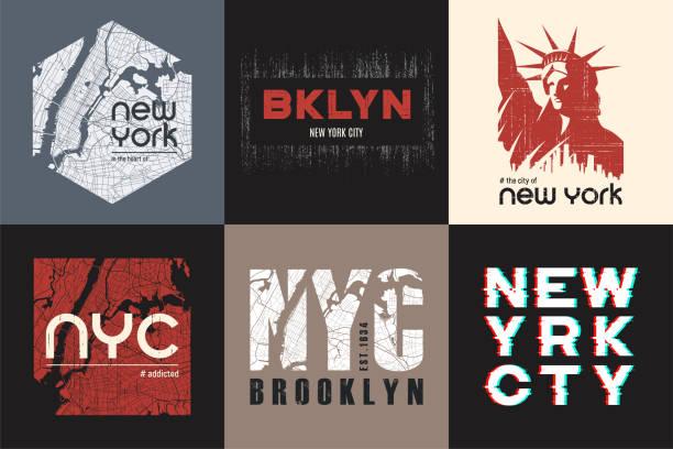 ilustraciones, imágenes clip art, dibujos animados e iconos de stock de conjunto de seis diseños de camiseta y ropa de nueva york. vector de impresión, tipografía, cartel, emblema. - moda playera