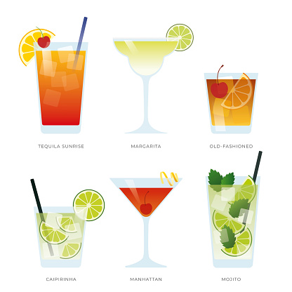 Set of six popular cocktail. Created for menu designs. Set of alcoholic drinks with Tequila Sunrise, Margarita, Old-fashioned, Caipirinha, Manhattan and Mojito.