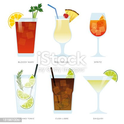 istock Set of six popular cocktails. Set of alcoholic drinks with Bloody Mary, Pina Colada,Spritz, Gin Tonic, Cuba libre and Daiquiri. 1319610097