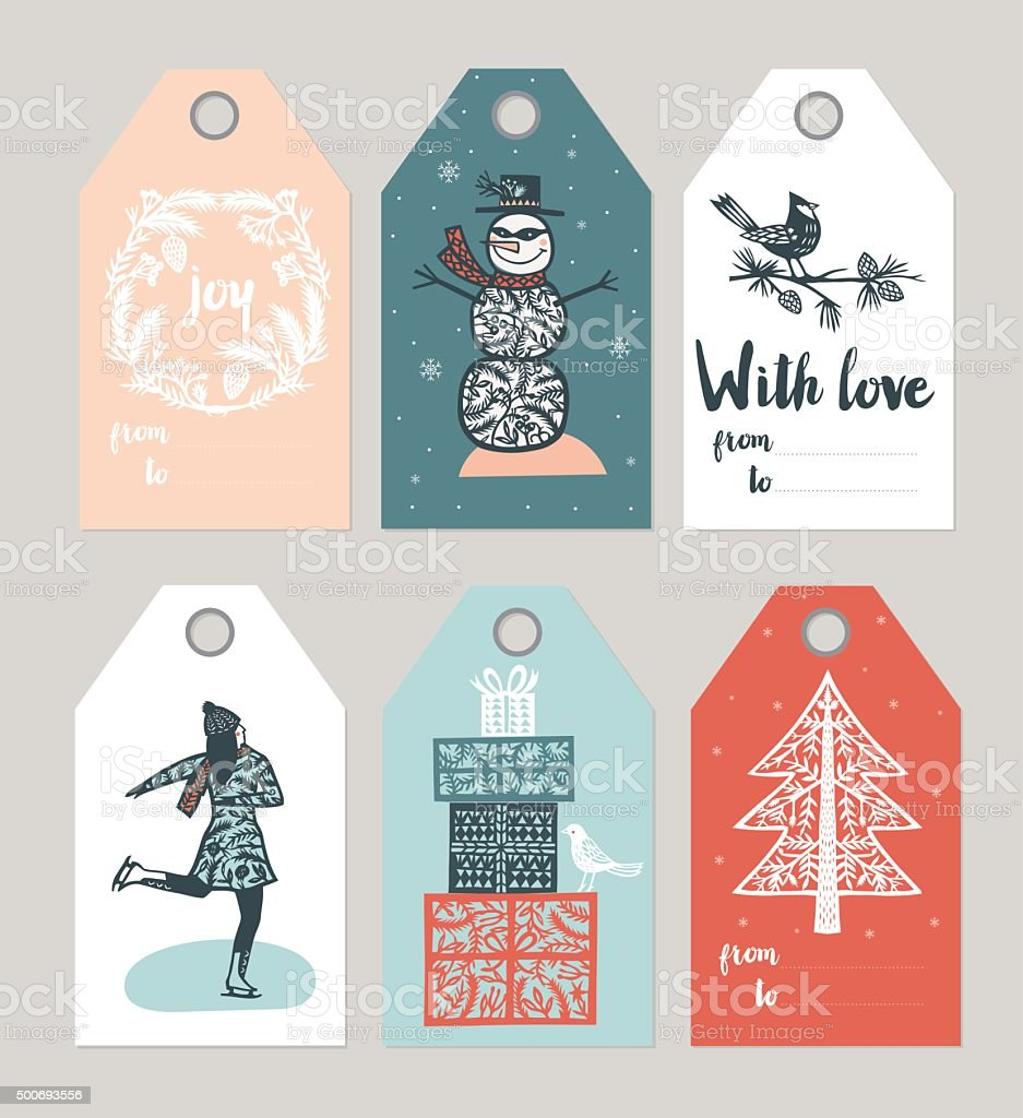 Set of six retro design Christmas labels or tags with a wreath,...