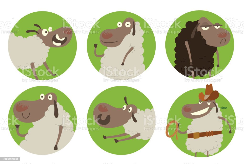 Set Of Six Round Green Frames With Funny Sheeps Stock Vector Art ...