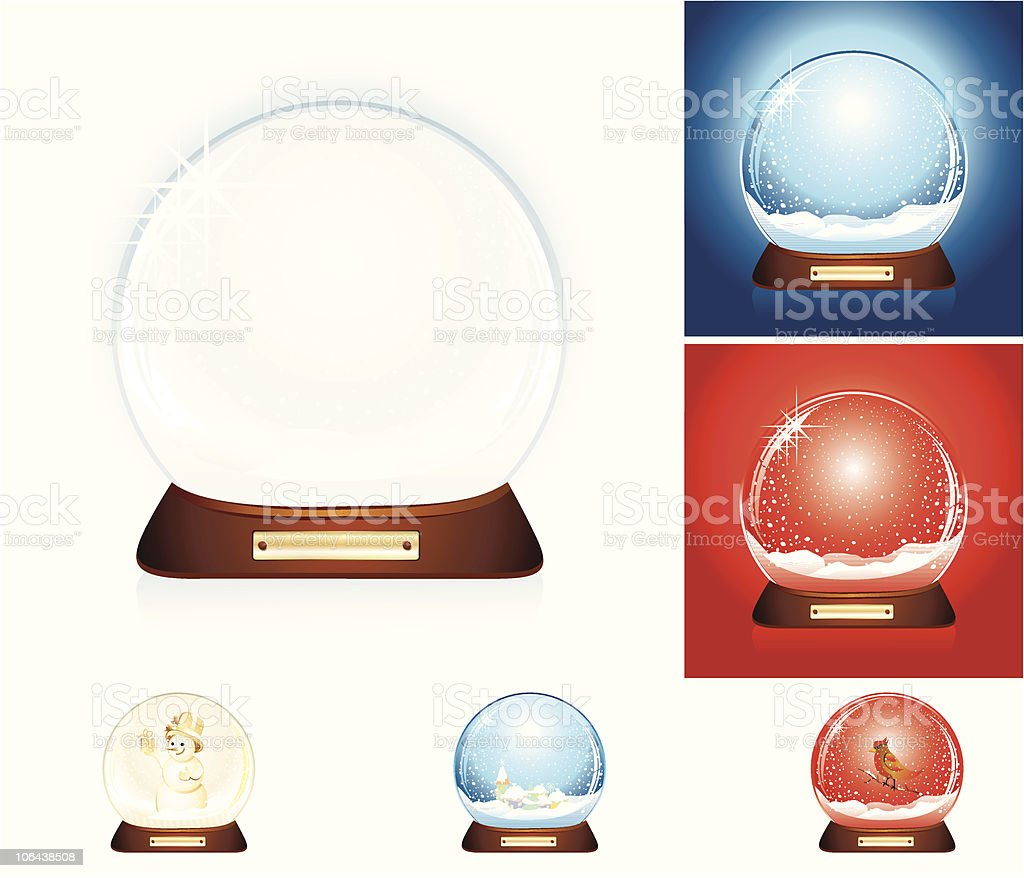 Set of six snow domes royalty-free stock vector art