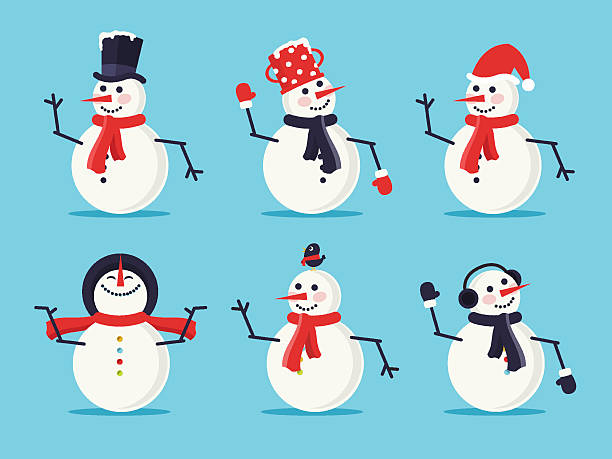 Set of Six Snowmen Set of six snowmen isolated on blue background. Flat design style.  snowman stock illustrations
