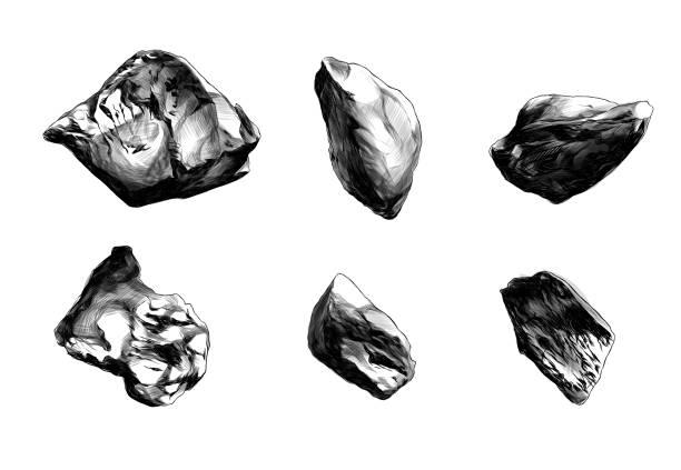 set of six stones of different shapes – artystyczna grafika wektorowa