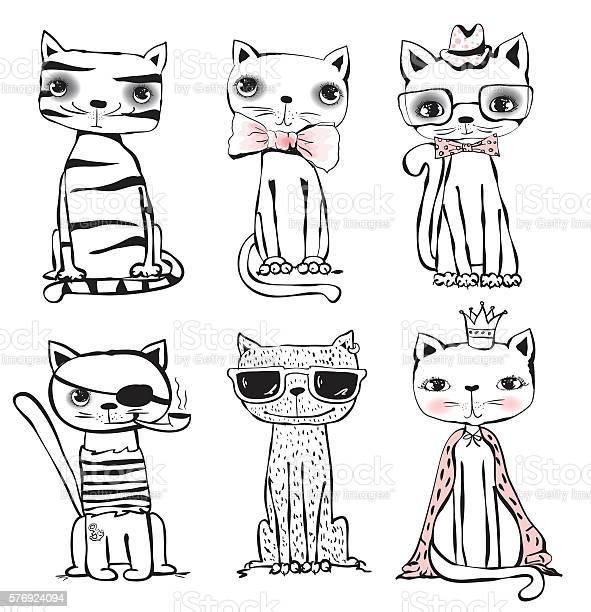 Set of six trendy cats vector id576924094?b=1&k=6&m=576924094&s=612x612&h=iaiizcaphl1jfmpvnkrwujmomoamzykl2uo1pdcwoiu=