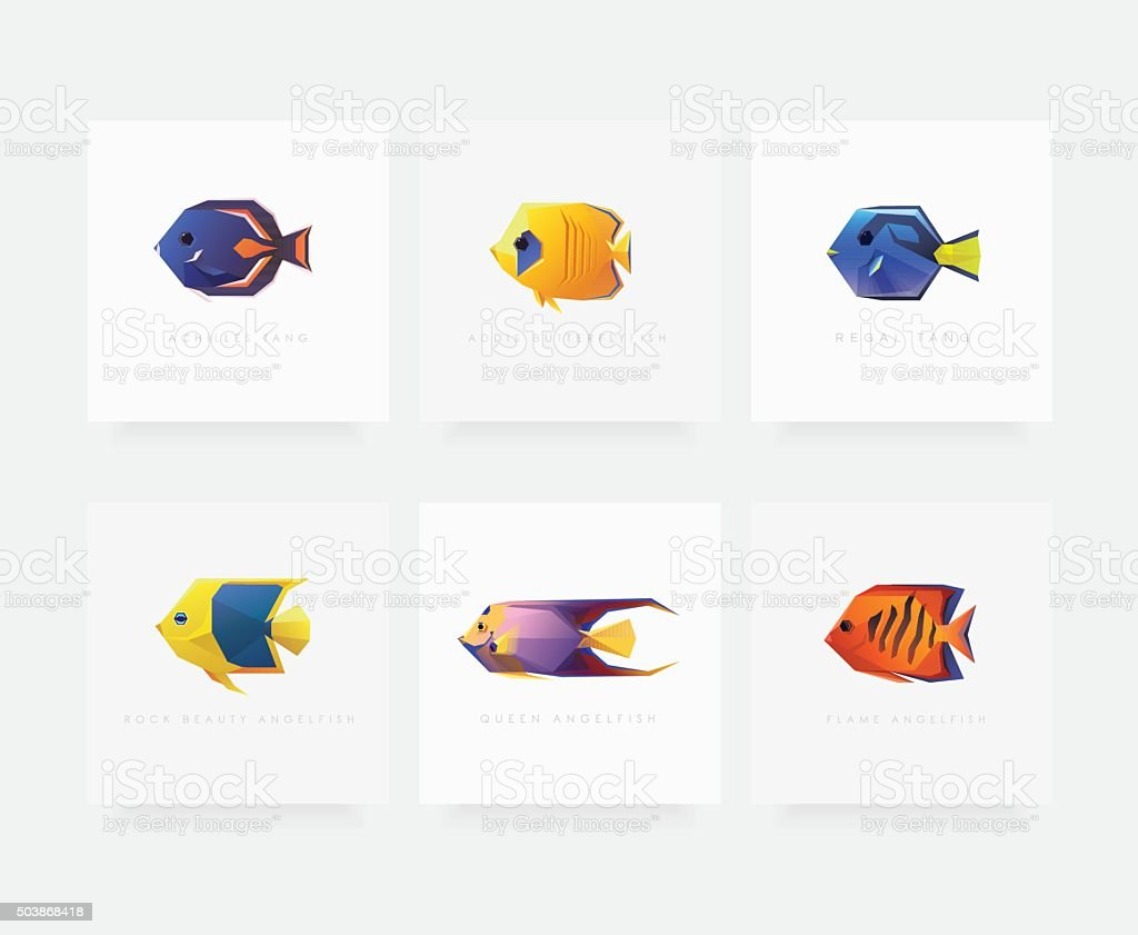 Set of six tropical fish game characters vector illustrations vector art illustration