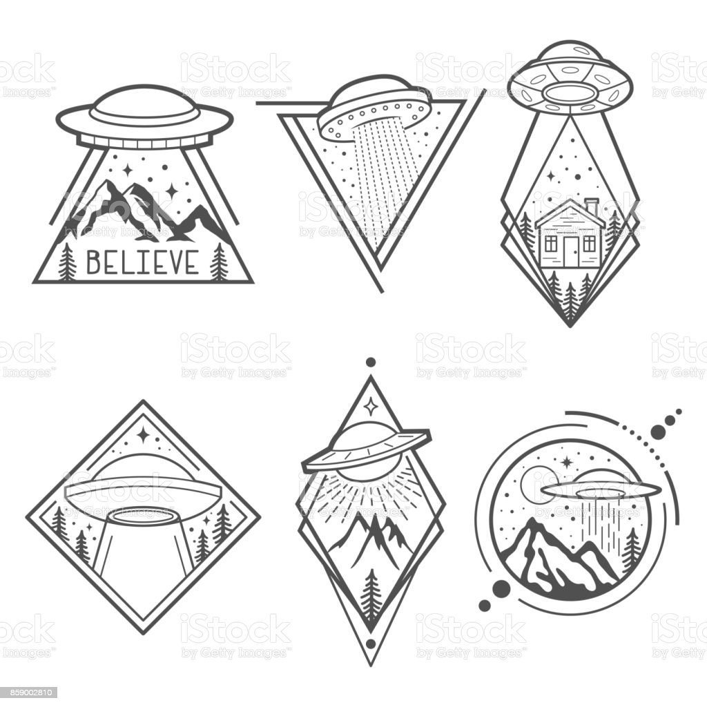 Set of six UFO emblems, labels, badges or icon, s. Mystical symbol paranormal phenomena, first contact, invasion of aliens