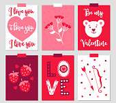 Set of six Valentine cards with heart, plant, teddy, strawberry, letters, bow and arrow. Also perfect for wedding invitations