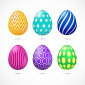 Set of six vector colorful Easter eggs with pattern.