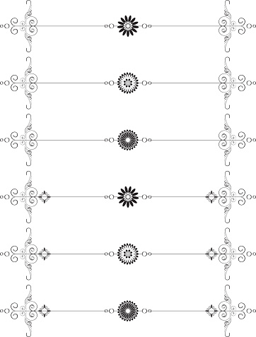 Set Of Six Vector Page Separators