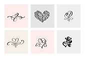 Set of six vintage Vector Valentines Day Hand Drawn Calligraphic Hearts. Calligraphy lettering illustration. Holiday Design valentine. Icon love decor for web, wedding and print. Isolated.
