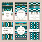 Set Of Six Wedding Cards With Art Deco Ornaments